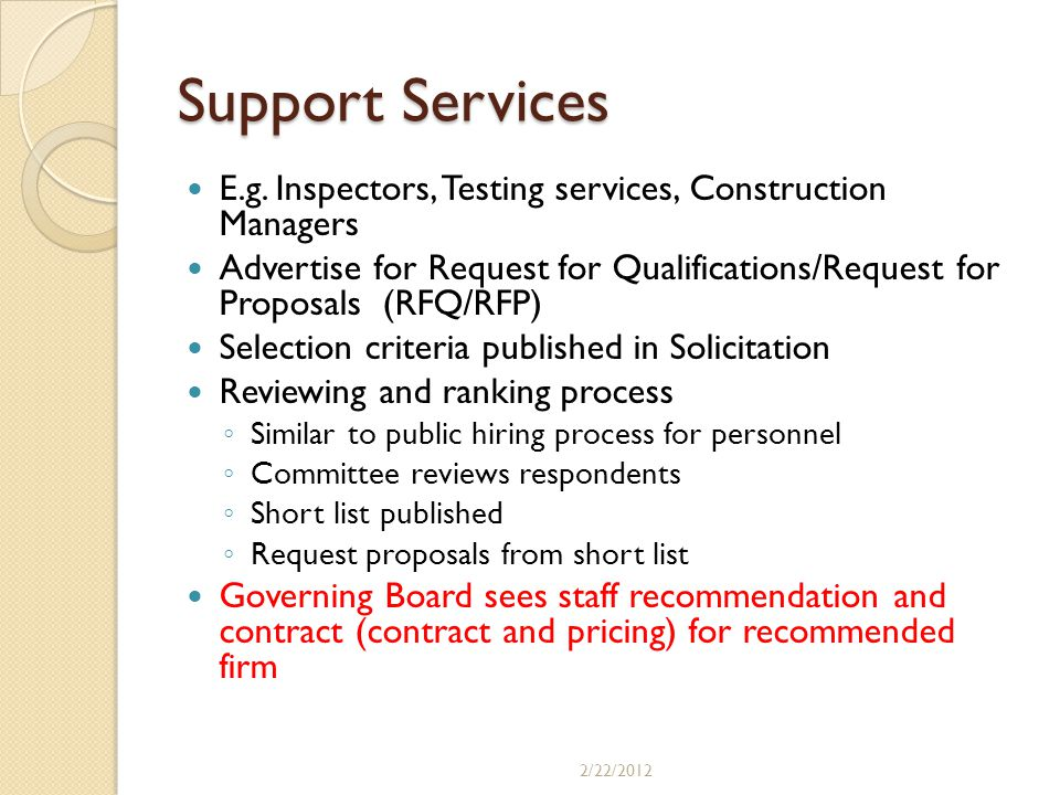 Support Services E.g. Inspectors, Testing services, Construction Managers.