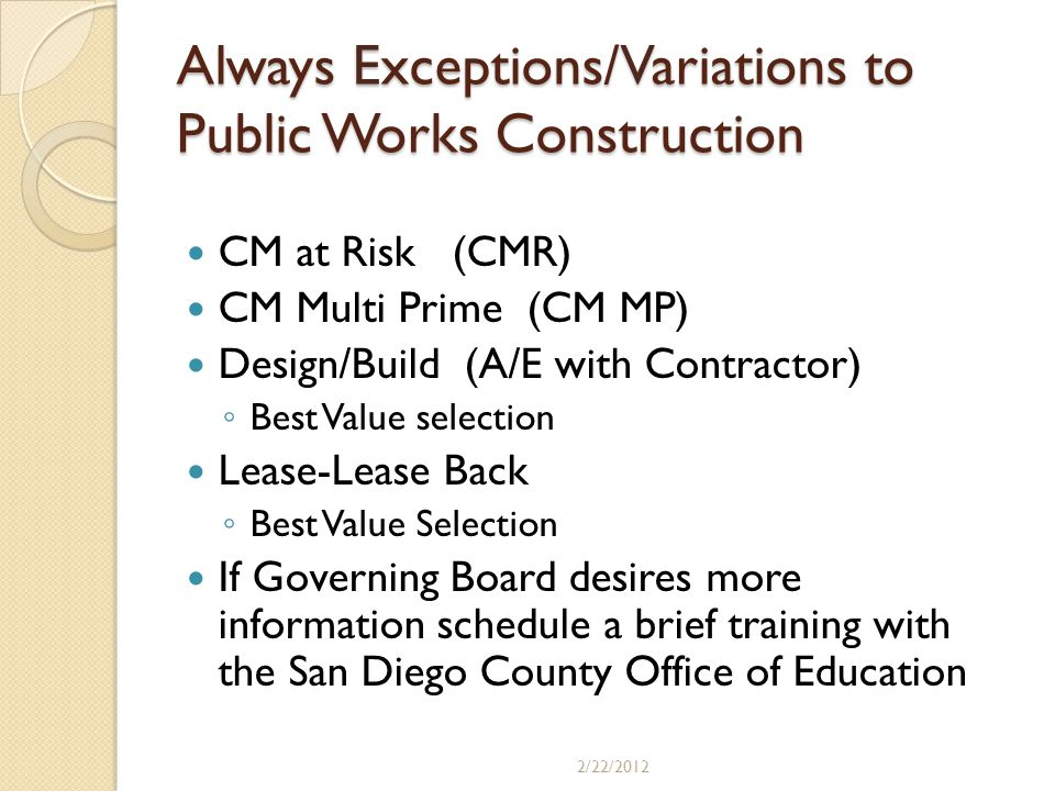 Always Exceptions/Variations to Public Works Construction