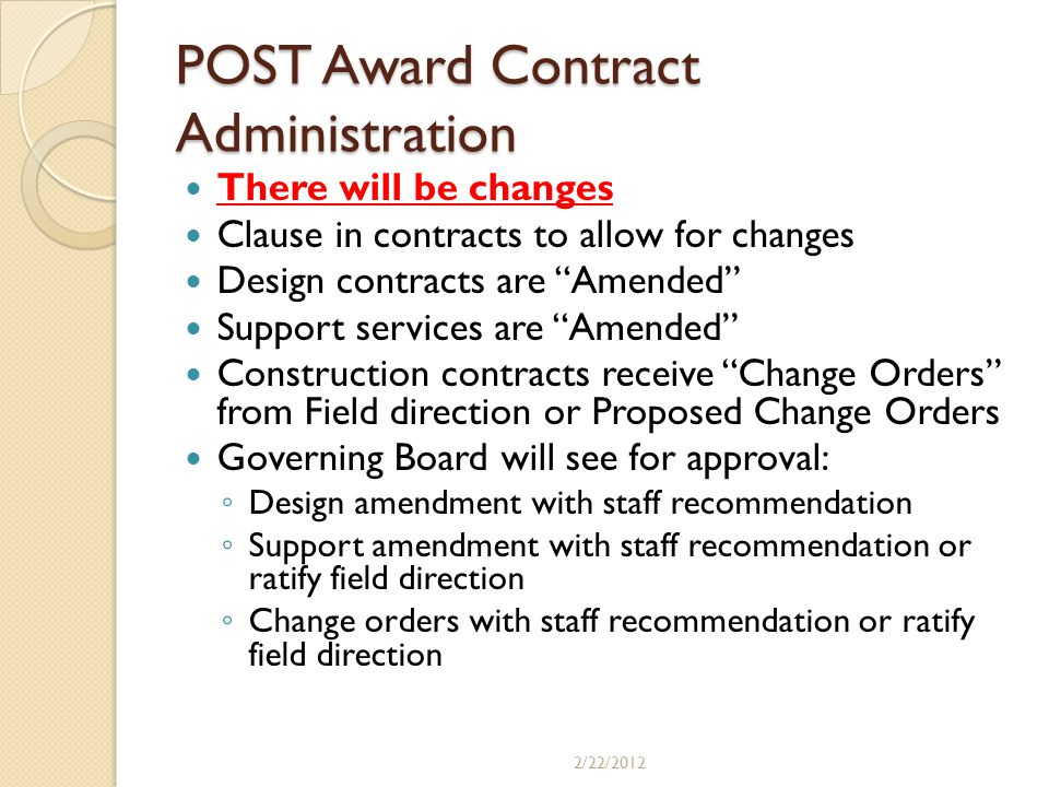 POST Award Contract Administration