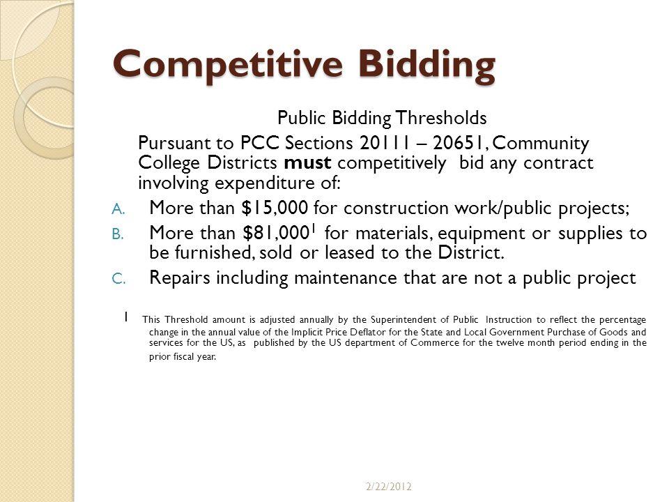 Public Bidding Thresholds