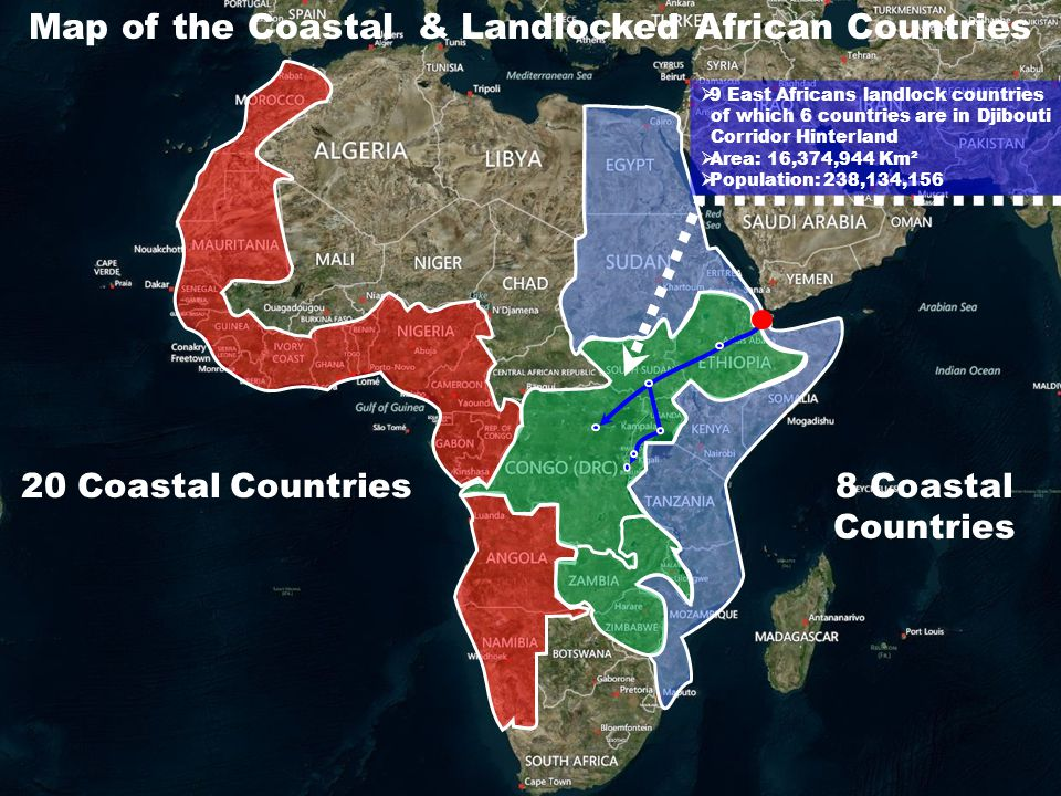 Map of the Coastal & Landlocked African Countries