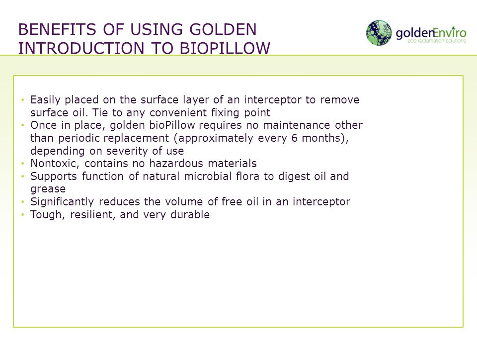 Benefits of using golden Introduction to biopillow