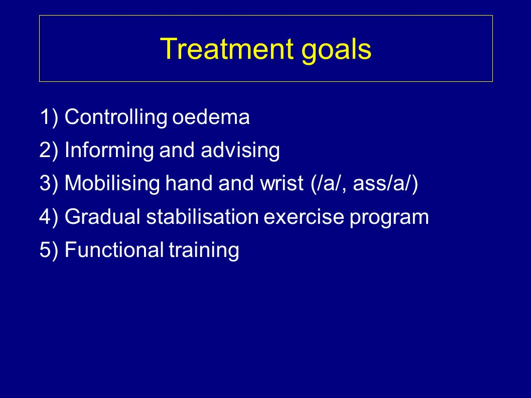 Treatment goals 1) Controlling oedema 2) Informing and advising