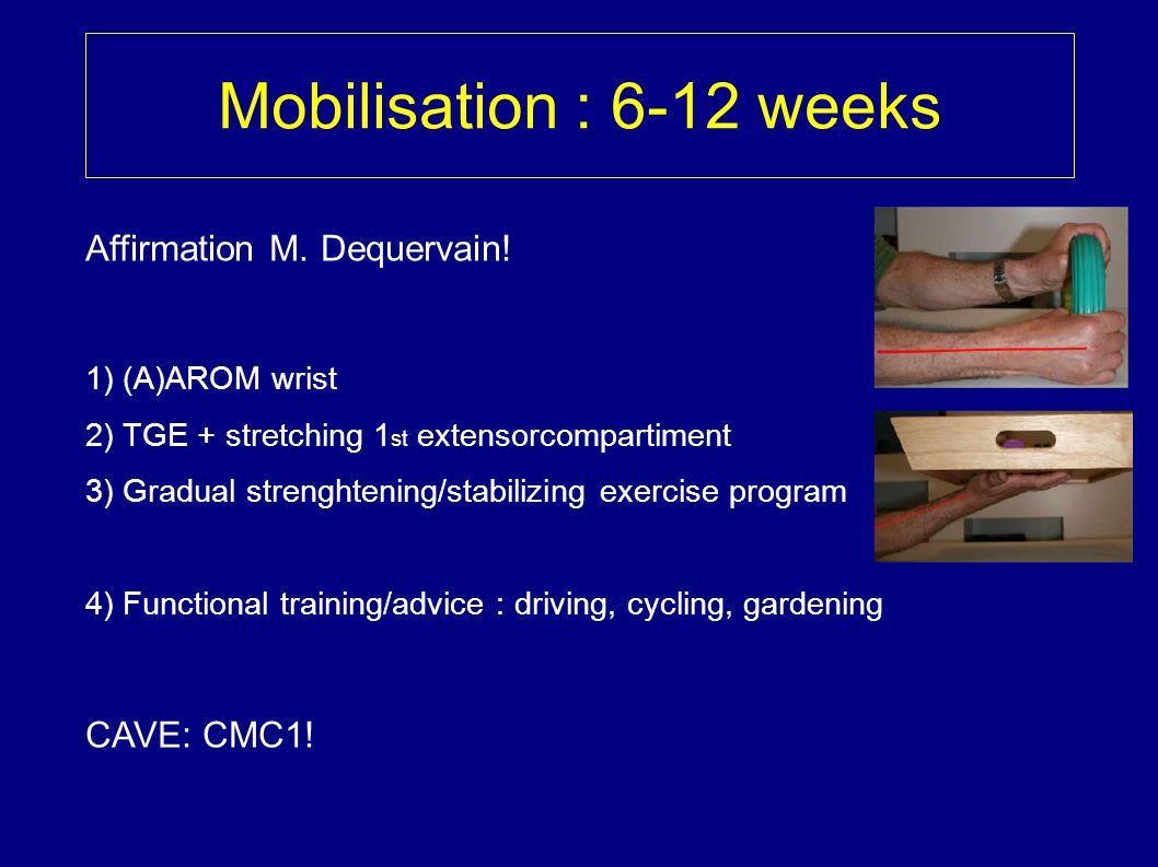 Mobilisation : 6-12 weeks Affirmation M. Dequervain! CAVE: CMC1!