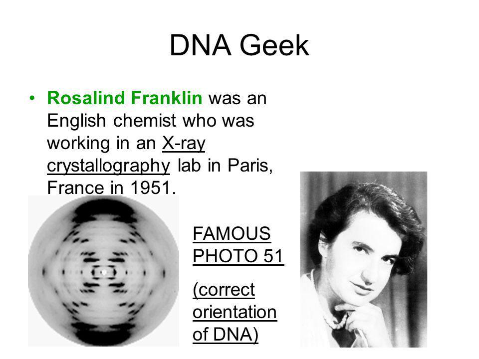 DNA Geek Rosalind Franklin was an English chemist who was working in an X-ray crystallography lab in Paris, France in 1951.