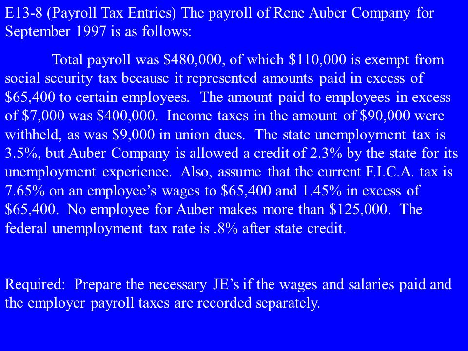 E13-8 (Payroll Tax Entries) The payroll of Rene Auber Company for September 1997 is as follows: