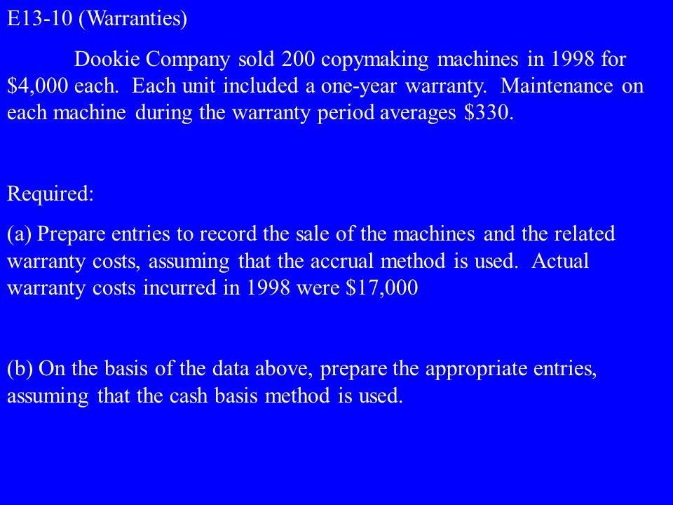 E13-10 (Warranties)