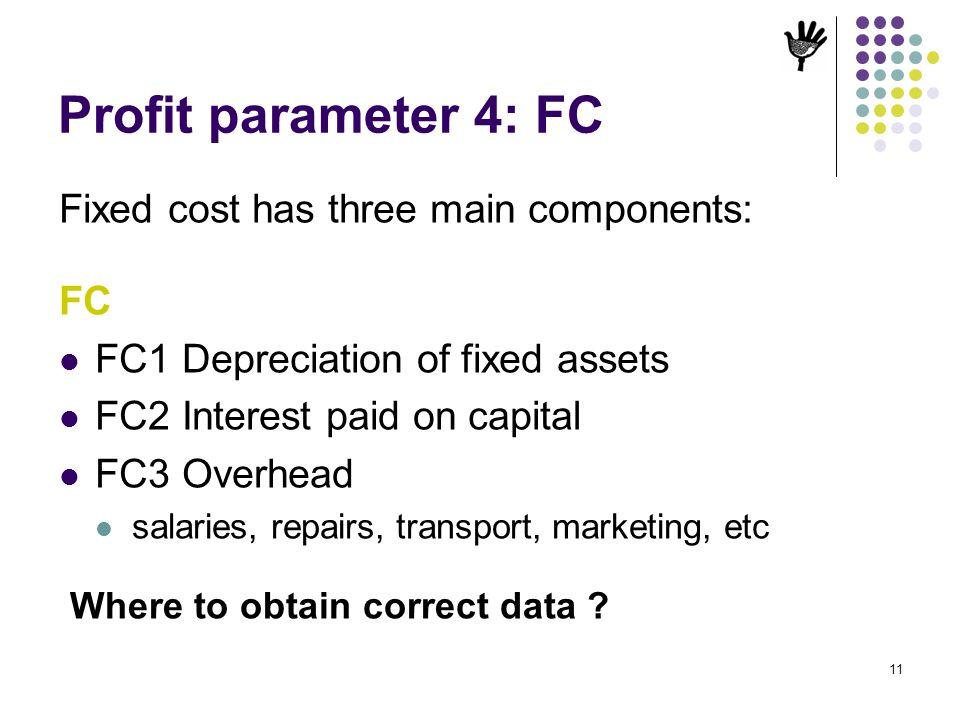 Profit parameter 4: FC Fixed cost has three main components: FC