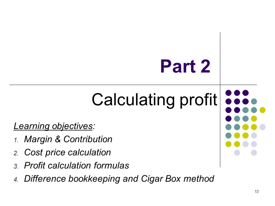 Part 2 Calculating profit Learning objectives: Margin & Contribution