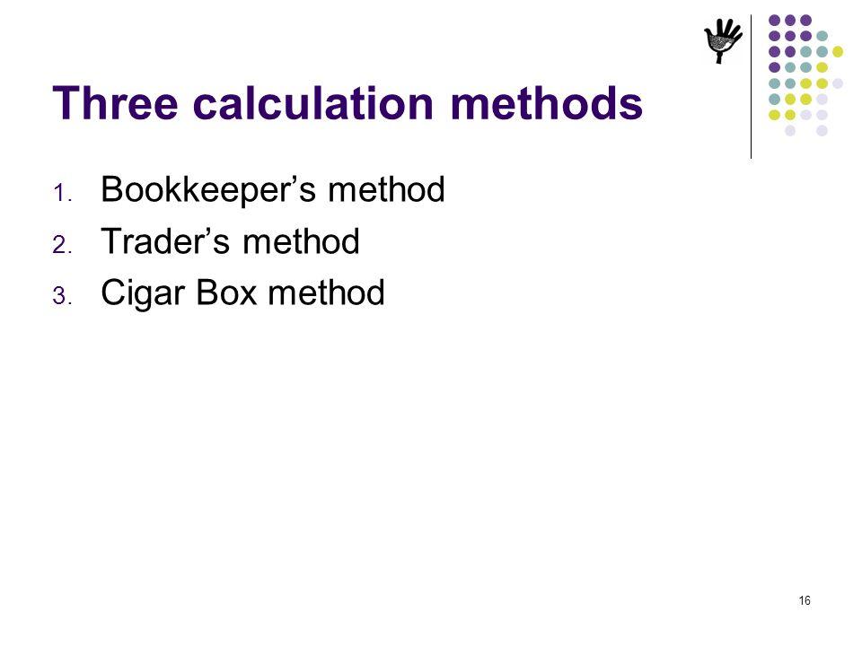 Three calculation methods