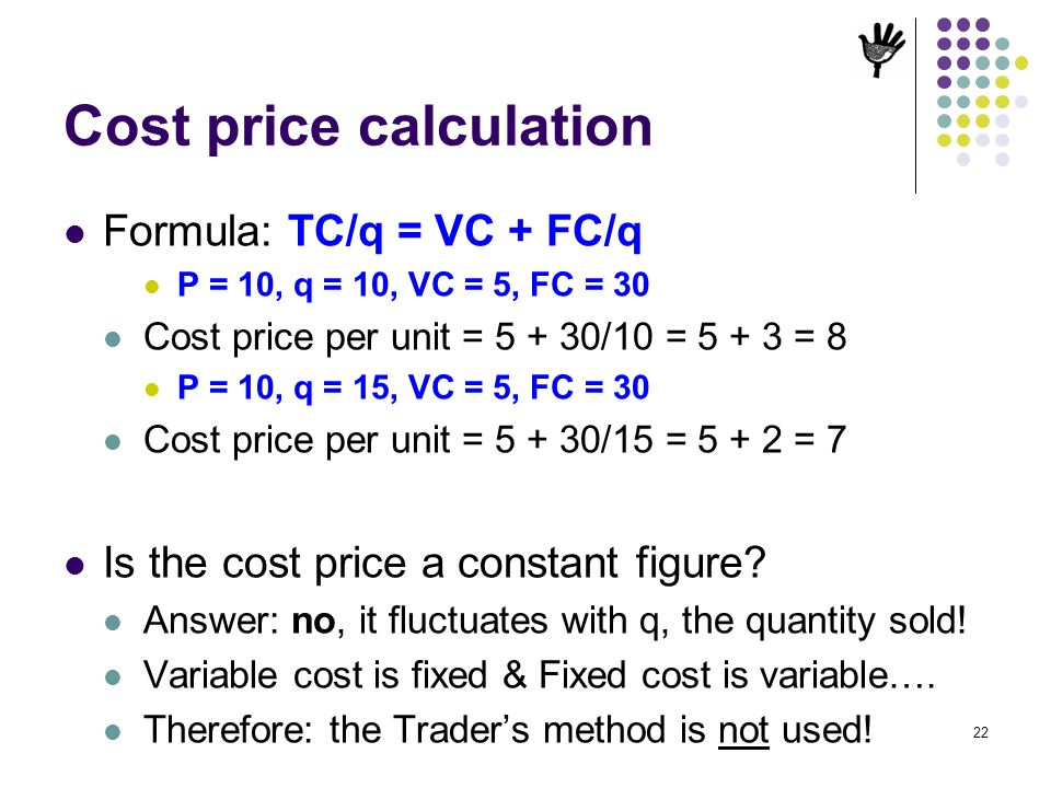 Cost price calculation