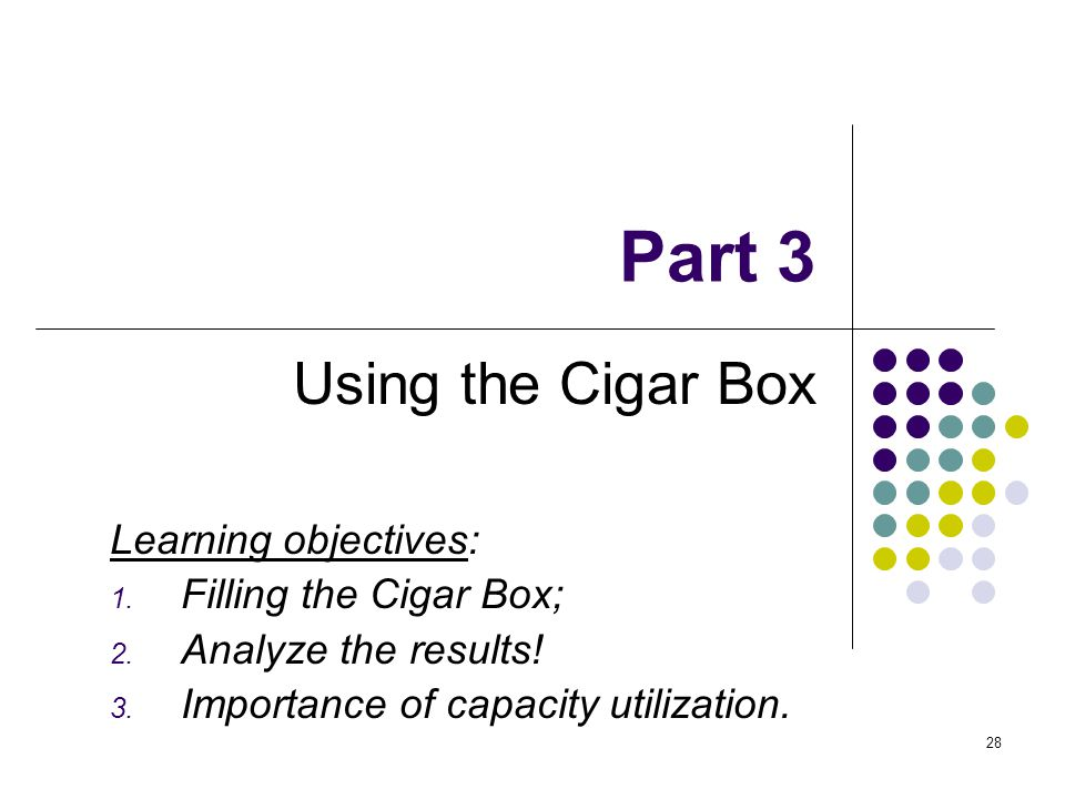 Part 3 Using the Cigar Box Learning objectives: Filling the Cigar Box;
