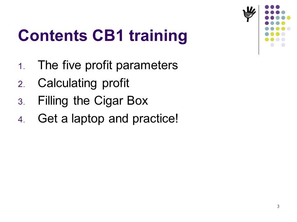 Contents CB1 training The five profit parameters Calculating profit