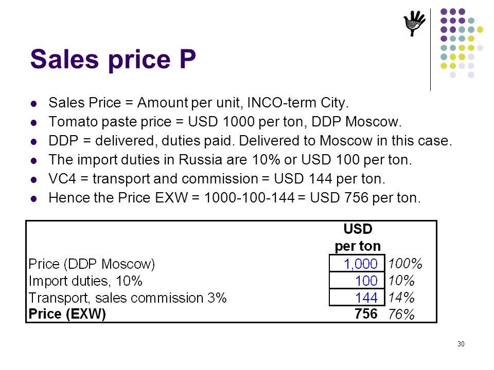 Sales price P Sales Price = Amount per unit, INCO-term City.