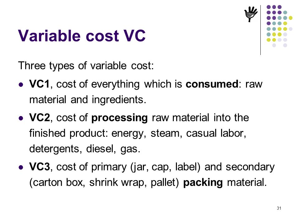 Variable cost VC Three types of variable cost: