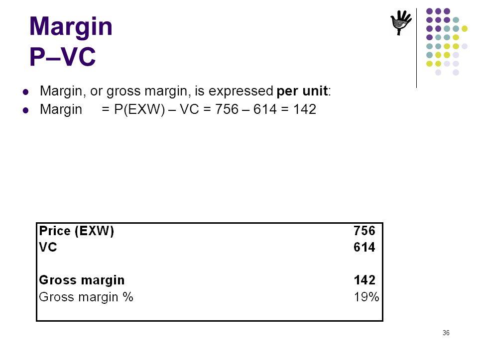 Margin P–VC Margin, or gross margin, is expressed per unit:
