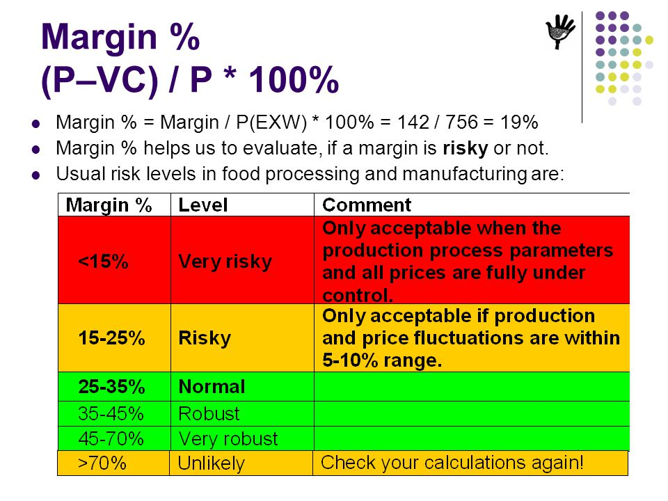 Margin % (P–VC) / P * 100% Margin % = Margin / P(EXW) * 100% = 142 / 756 = 19% Margin % helps us to evaluate, if a margin is risky or not.