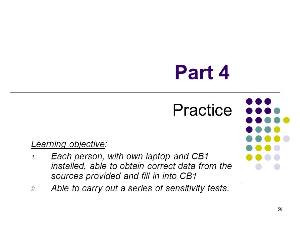 Part 4 Practice Learning objective: