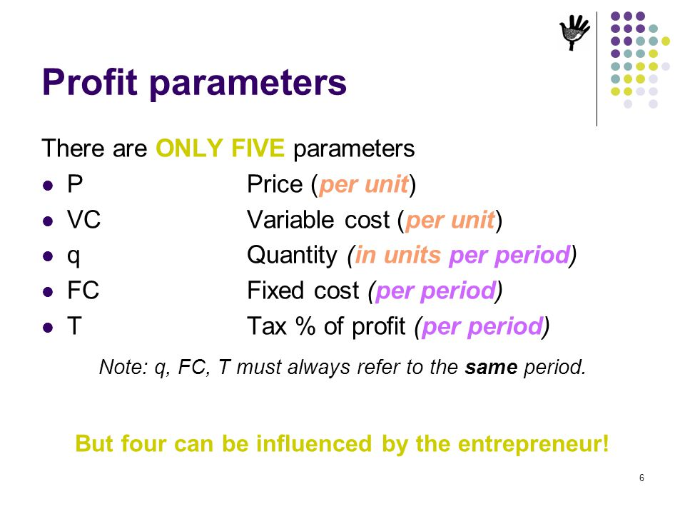 But four can be influenced by the entrepreneur!