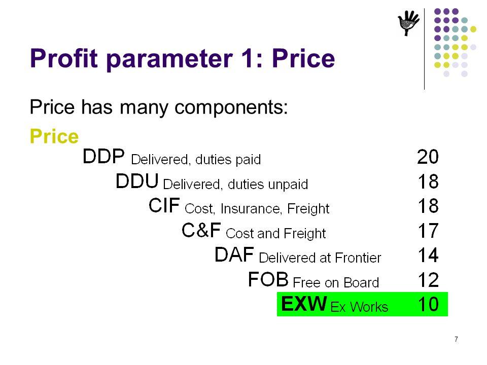 Profit parameter 1: Price