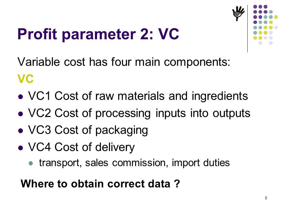 Profit parameter 2: VC Variable cost has four main components: VC