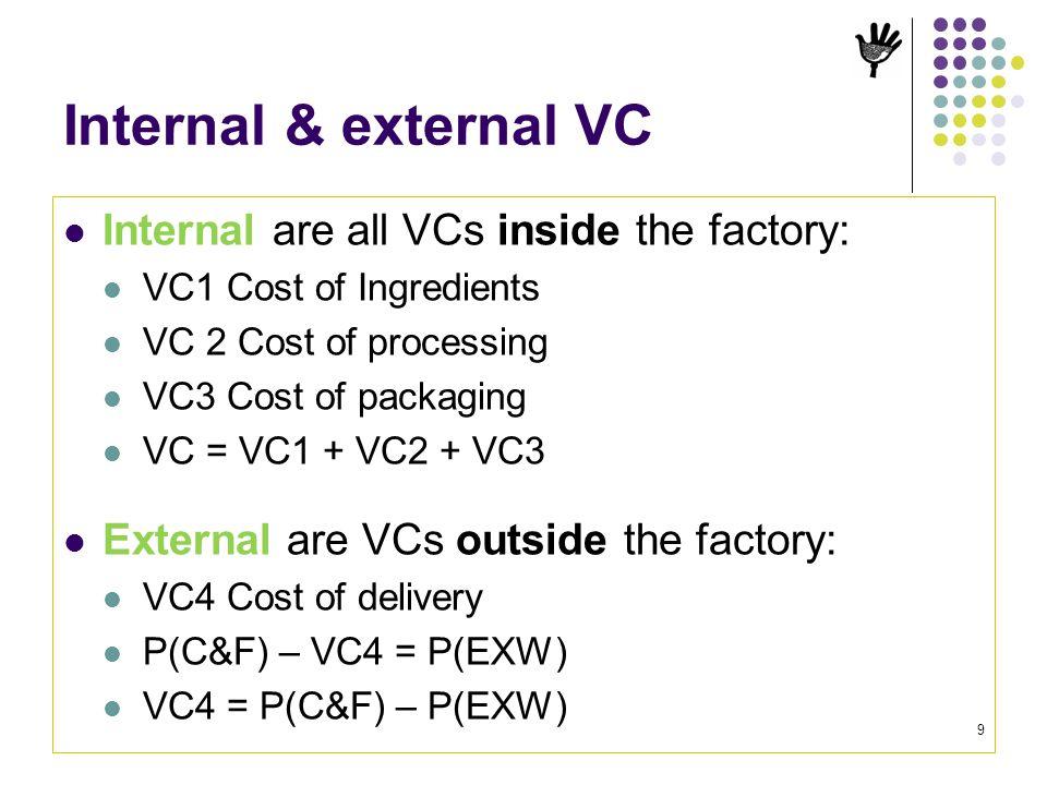 Internal & external VC Internal are all VCs inside the factory: