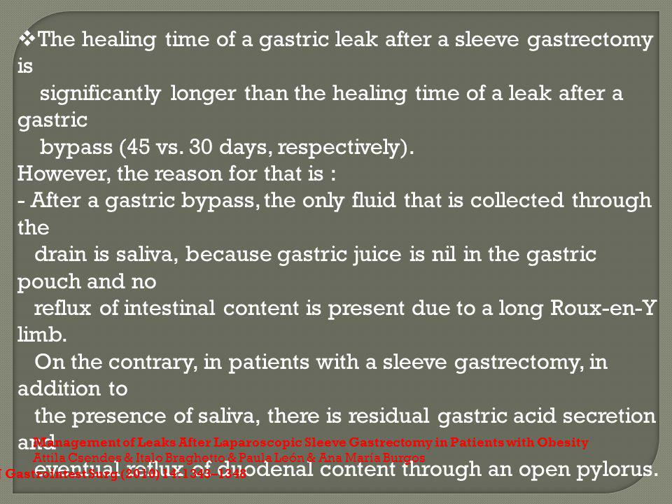 The healing time of a gastric leak after a sleeve gastrectomy is