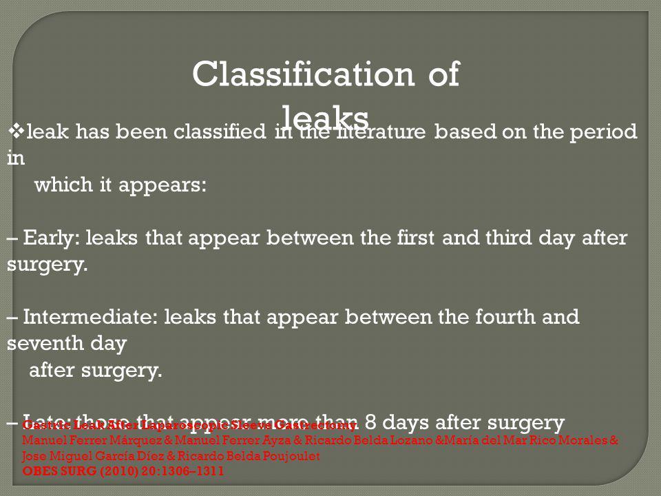 Classification of leaks