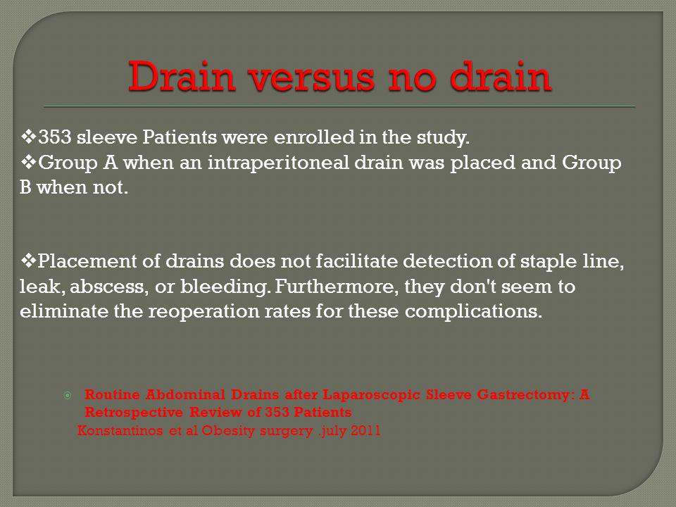 Drain versus no drain 353 sleeve Patients were enrolled in the study.