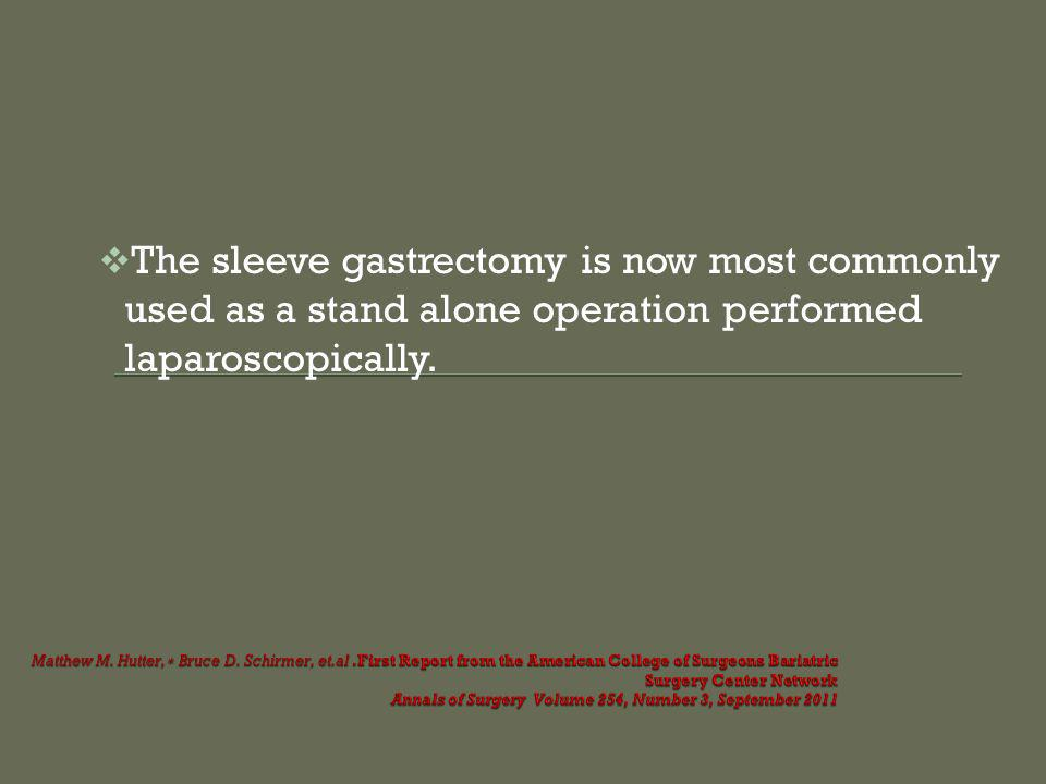 The sleeve gastrectomy is now most commonly used as a stand alone operation performed laparoscopically.