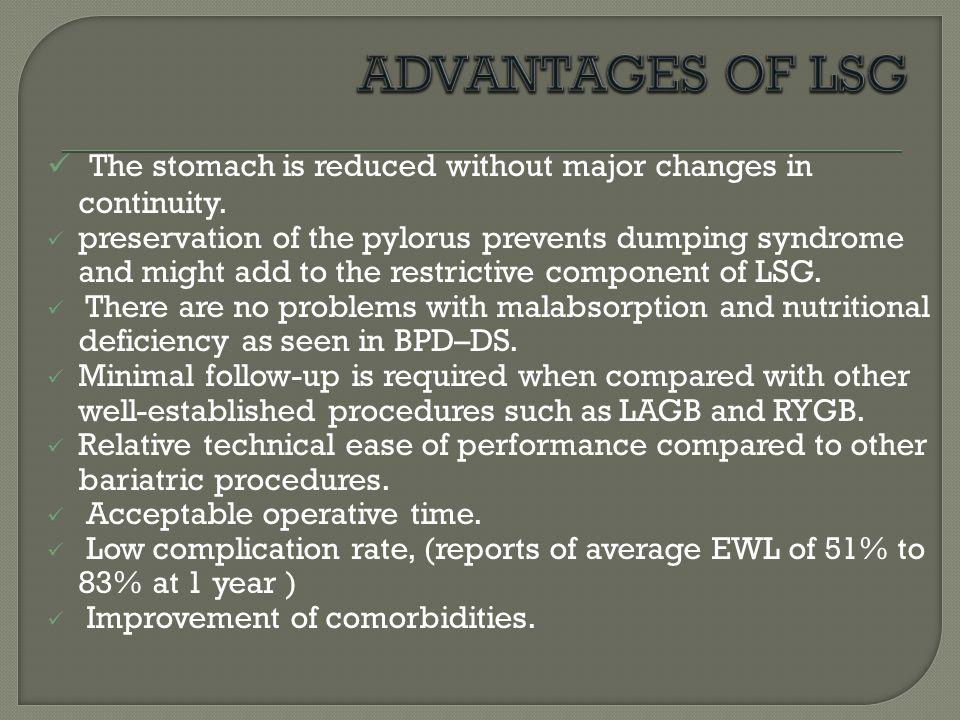 ADVANTAGES OF LSG The stomach is reduced without major changes in continuity.