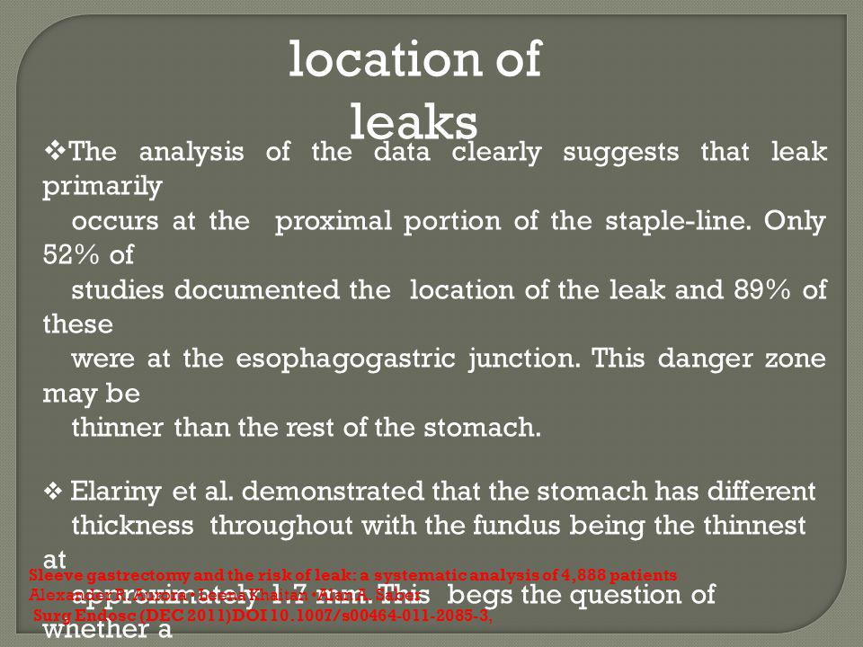 location of leaks The analysis of the data clearly suggests that leak primarily. occurs at the proximal portion of the staple-line. Only 52% of.