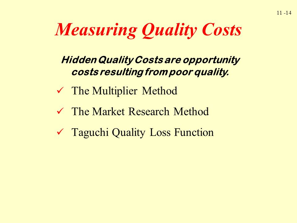 Measuring Quality Costs