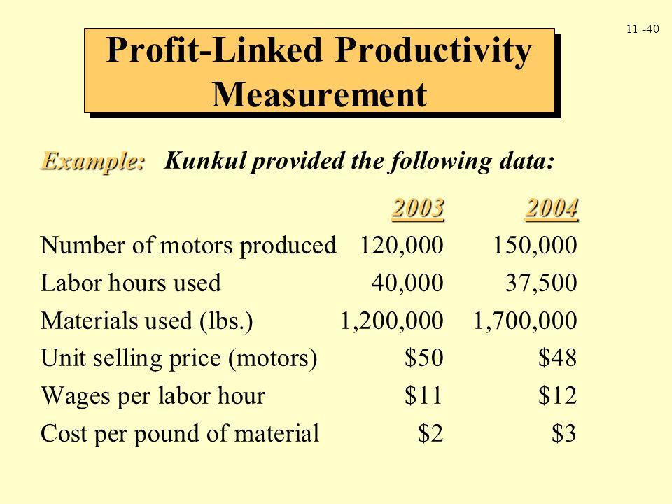 Profit-Linked Productivity Measurement