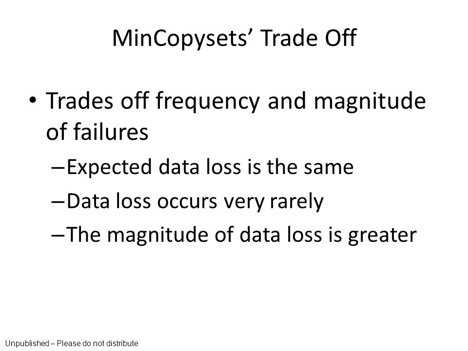 MinCopysets' Trade Off
