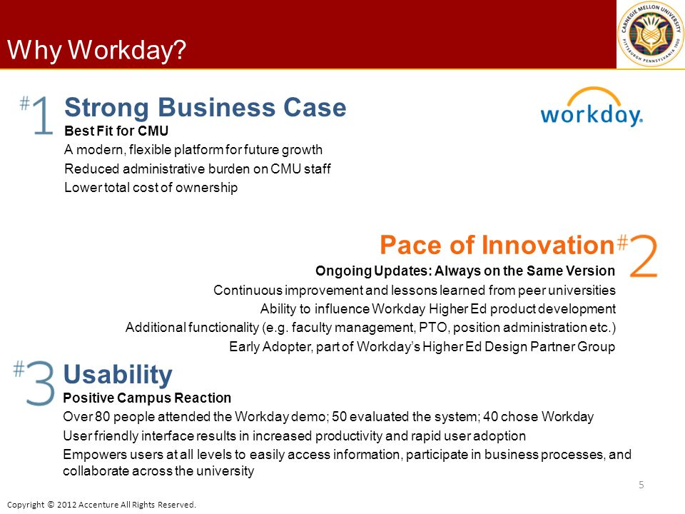 Why Workday Strong Business Case Pace of Innovation Usability