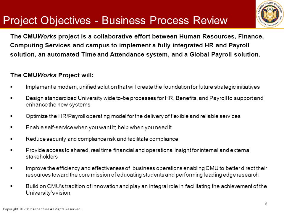 Project Objectives - Business Process Review
