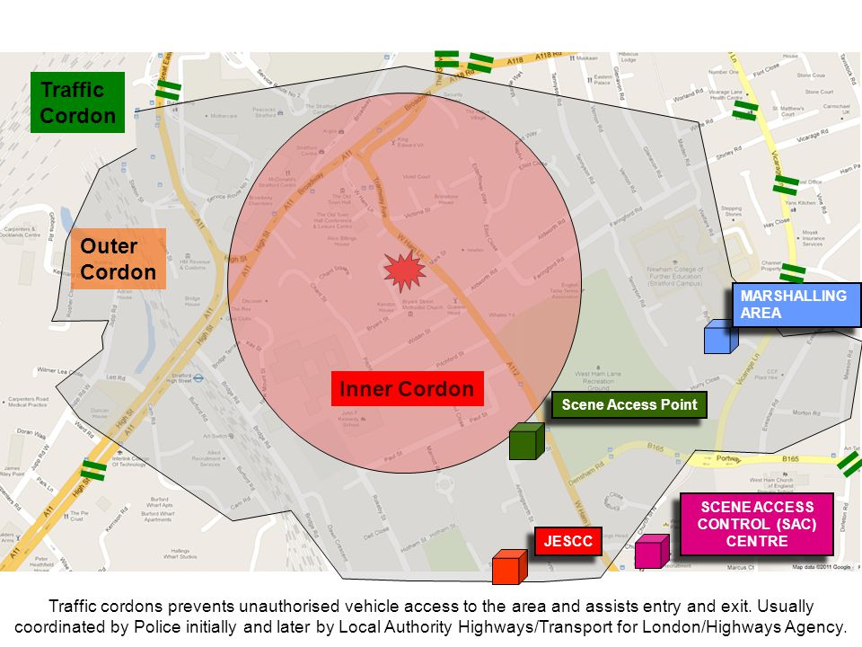 = = = = = = = = Traffic Cordon Outer Cordon Inner Cordon