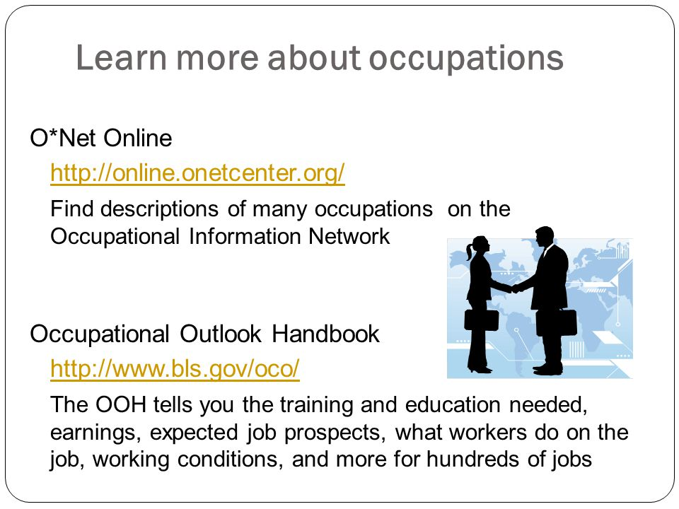 Learn more about occupations