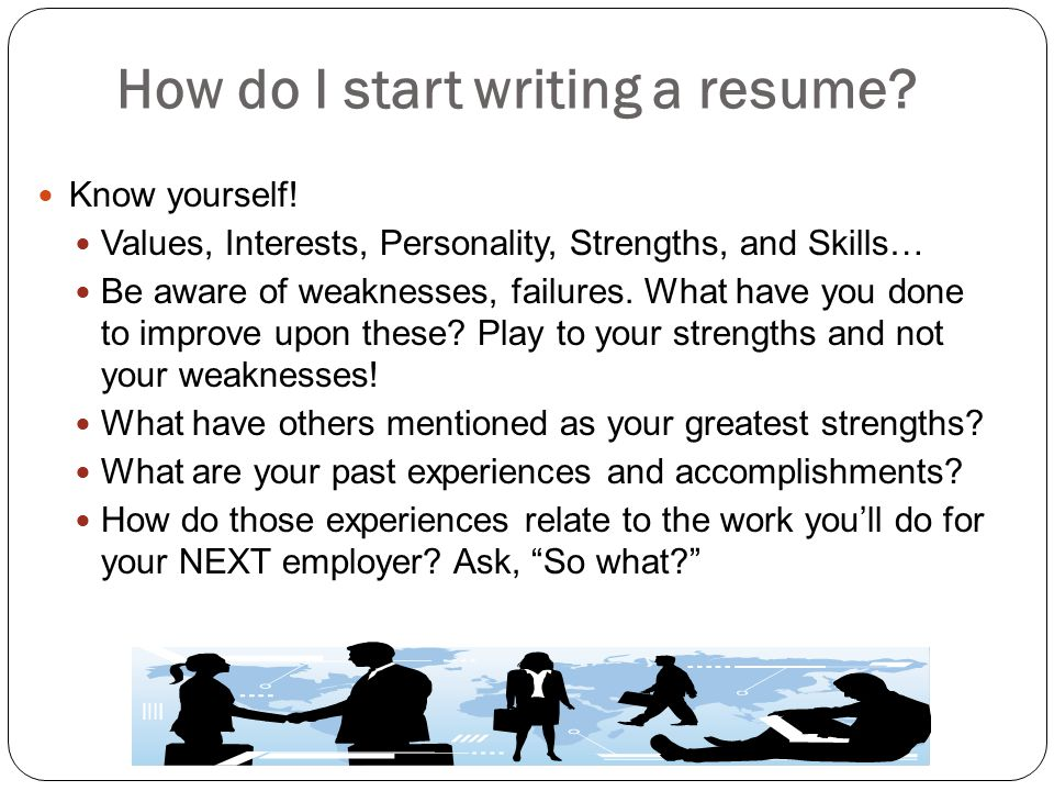 How do I start writing a resume