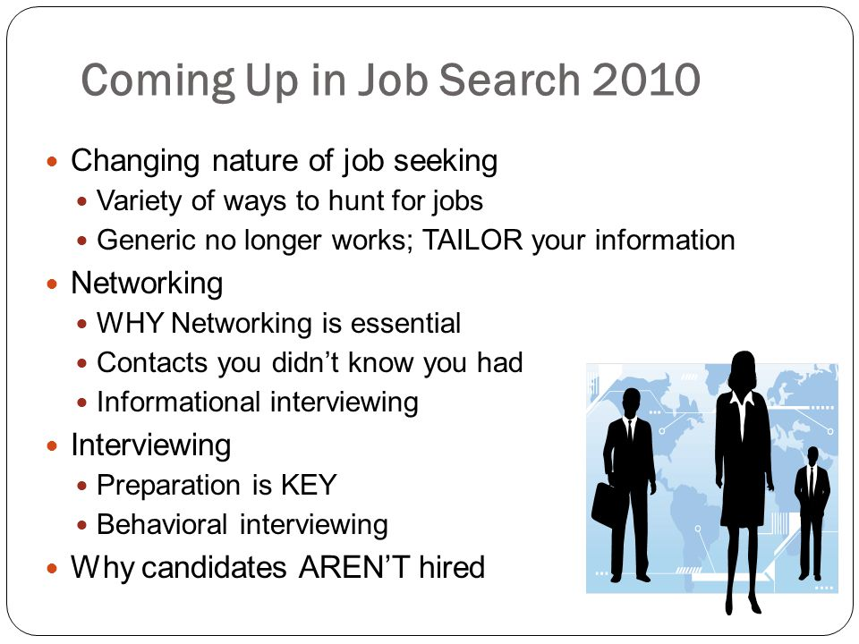 Coming Up in Job Search 2010 Changing nature of job seeking Networking