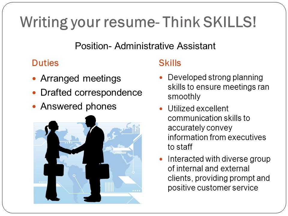 Writing your resume- Think SKILLS!