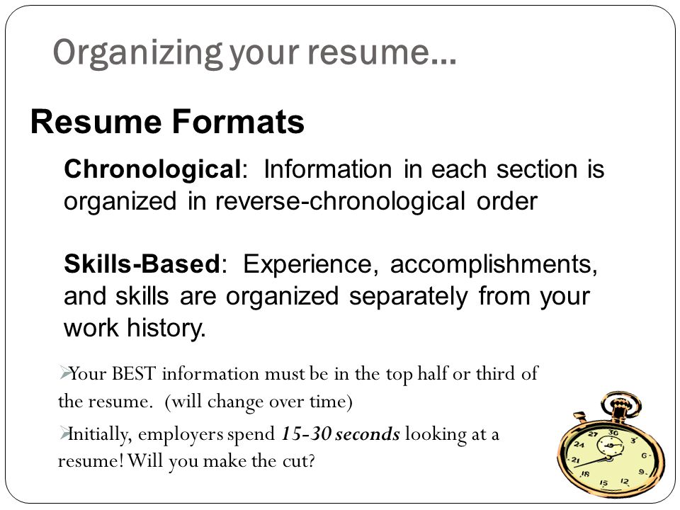 Organizing your resume…