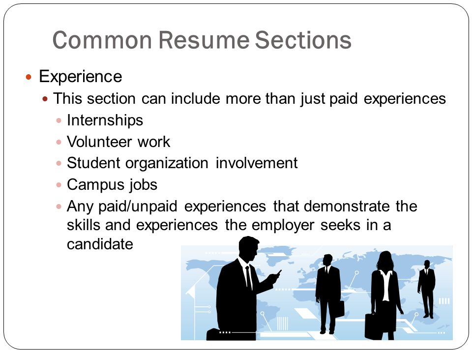 Common Resume Sections
