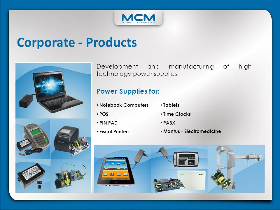 Corporate - Products Power Supplies for: