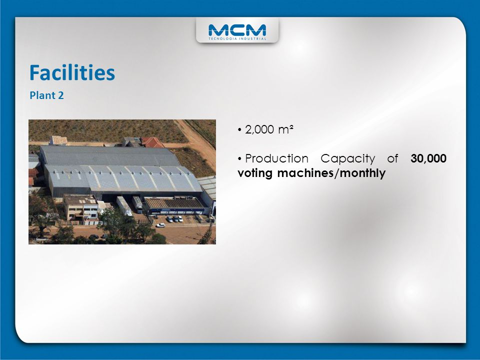 Facilities Plant 2 2,000 m² Production Capacity of 30,000 voting machines/monthly