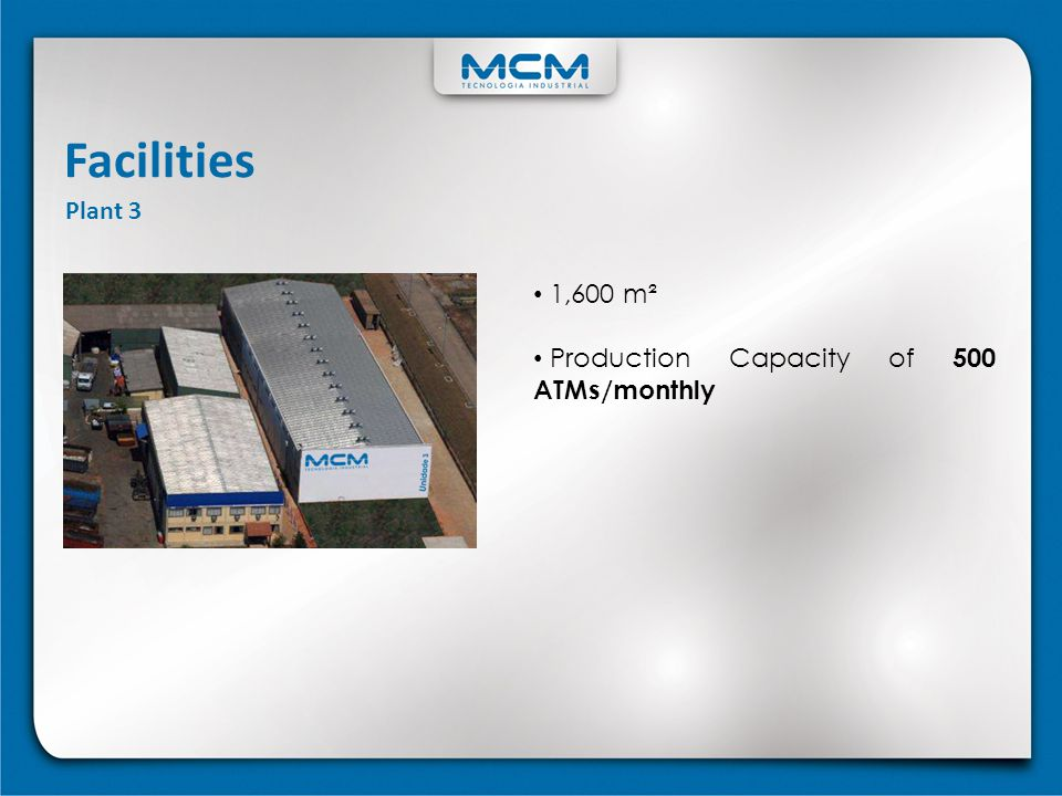 Facilities Plant 3 1,600 m² Production Capacity of 500 ATMs/monthly