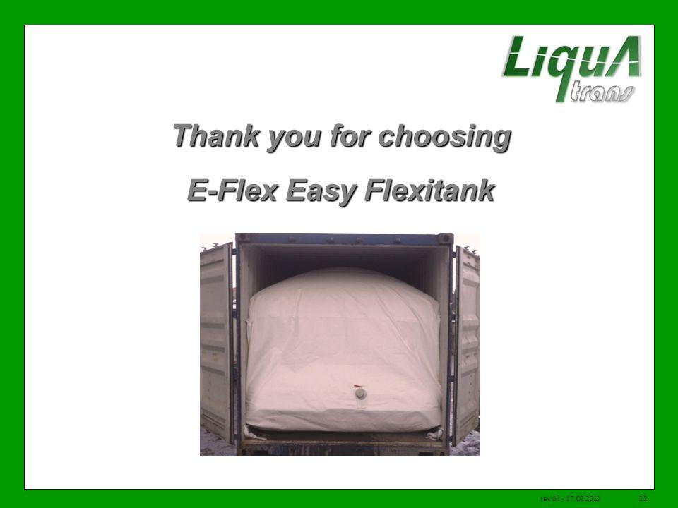 Thank you for choosing E-Flex Easy Flexitank