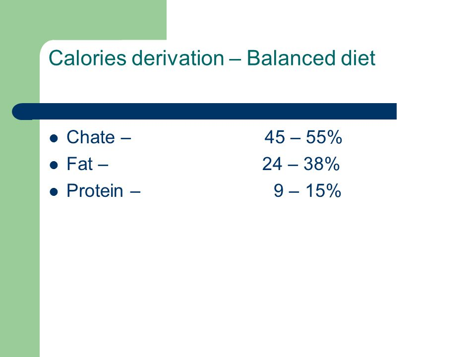 Calories derivation – Balanced diet