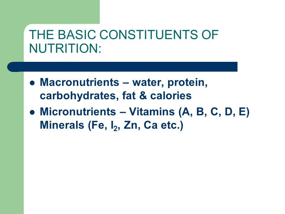 THE BASIC CONSTITUENTS OF NUTRITION: